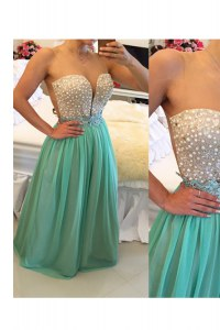 Sweetheart Sleeveless Zipper Formal Dresses Turquoise Chiffon