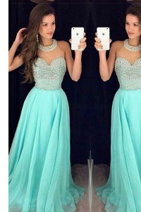 Aqua Blue Organza Zipper Homecoming Dress Sleeveless Sweep Train Beading
