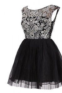 Black Bateau Neckline Beading Prom Homecoming Dress Cap Sleeves Zipper
