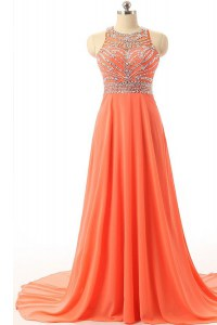 Halter Top A-line Sleeveless Orange Custom Made Pageant Dress Court Train Backless