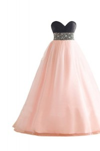 Free and Easy Pink And Black Sweetheart Neckline Beading Womens Evening Dresses Sleeveless Lace Up