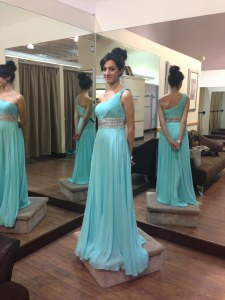 Baby Blue One Shoulder Zipper Beading Prom Party Dress Sweep Train Sleeveless