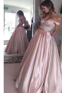 Off the Shoulder Floor Length Zipper Homecoming Dress Pink for Prom with Beading