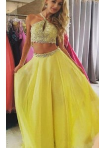 Artistic Yellow Halter Top Zipper Beading Prom Dresses Sleeveless