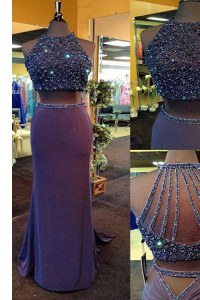Scoop Sleeveless Prom Dress Floor Length Beading Purple Elastic Woven Satin