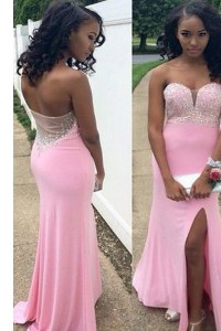 Beautiful Mermaid Sleeveless Chiffon Floor Length Backless Evening Gowns in Rose Pink with Beading