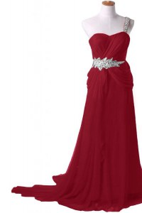Edgy One Shoulder Burgundy Sleeveless Chiffon Watteau Train Zipper Prom Dresses for Prom