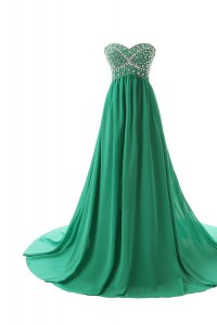 Suitable Green Sweetheart Neckline Beading Dress for Prom Sleeveless Zipper