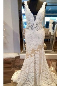Decent Mermaid Lace White Custom Made Pageant Dress V-neck Sleeveless Sweep Train Zipper
