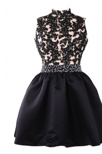 Sleeveless Backless Knee Length Beading and Appliques Prom Evening Gown