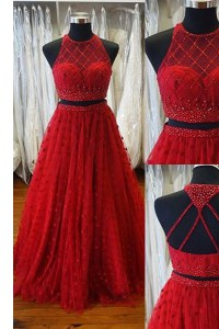 Beauteous Scoop A-line Sleeveless Red Sweep Train Backless