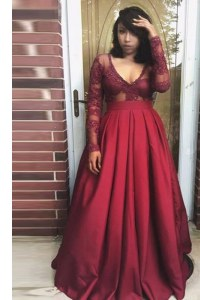 Burgundy Long Sleeves Floor Length Beading and Appliques and Pleated Zipper Prom Gown