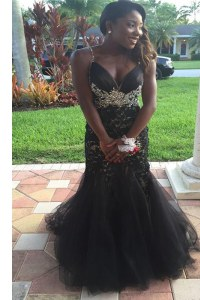 Affordable Mermaid Black Zipper V-neck Beading and Lace Prom Gown Tulle Sleeveless
