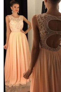 Scoop Sleeveless Backless Prom Gown Peach Chiffon