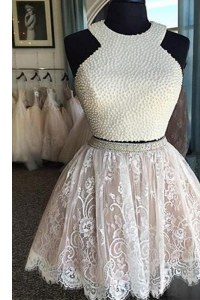 Excellent Halter Top Sleeveless Cocktail Dress Knee Length Beading and Lace White Lace
