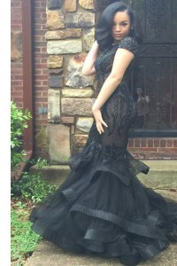 Sweep Train Mermaid Dress for Prom Black Scoop Organza Cap Sleeves With Train Zipper