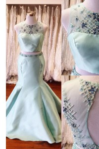 Mermaid Scoop Sleeveless Floor Length Beading and Sashes ribbons Backless with Light Blue