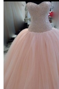 Pink Zipper Sweetheart Beading and Sequins and Bowknot Prom Dresses Tulle Sleeveless