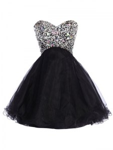 Eye-catching Mini Length Black Cocktail Dresses Tulle Sleeveless Sequins