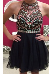 Graceful Black A-line Halter Top Sleeveless Chiffon Mini Length Zipper Beading Prom Evening Gown