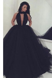 Black High-neck Backless Ruching Formal Dresses Sweep Train Sleeveless
