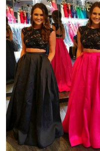 On Sale Scoop Floor Length Backless Dress for Prom Black for Prom and Party with Lace and Ruching