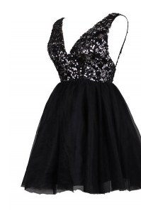 Latest Knee Length Black Evening Dress Tulle Sleeveless Sequins