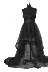 Discount High Low Zipper Homecoming Dress Black for Prom with Sashes ribbons