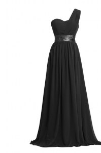 One Shoulder Sleeveless Chiffon Homecoming Dress Ruching and Belt Zipper