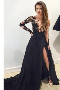 High Quality Black A-line Lace and Appliques Prom Dresses Zipper Tulle Long Sleeves