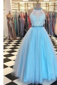 Halter Top Sleeveless Prom Evening Gown Floor Length Beading and Appliques Blue Tulle