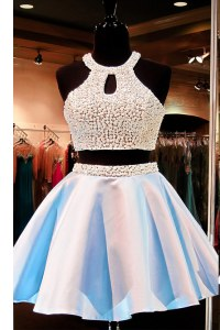 Popular Scoop Satin Sleeveless Mini Length Prom Dress and Beading