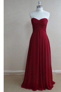 Cute Burgundy A-line Chiffon Sweetheart Sleeveless Ruching Floor Length Zipper Evening Gowns