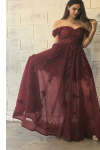 Colorful Burgundy Tulle Zipper Off The Shoulder Short Sleeves Floor Length Prom Evening Gown Appliques