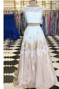 Champagne Two Pieces Chiffon Bateau Cap Sleeves Beading and Lace Floor Length Backless Dress for Prom