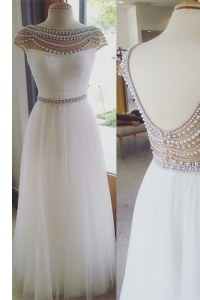 Column/Sheath Dress for Prom White Bateau Tulle Cap Sleeves Floor Length Zipper