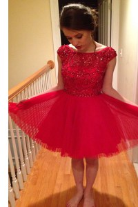 High Class Knee Length Zipper Prom Party Dress Red for Prom and Party with Beading