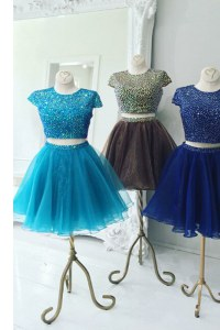 High Quality Scoop Aqua Blue Cap Sleeves Organza Zipper Prom Dress for Prom and Party