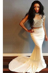 Clearance Mermaid White Zipper Scoop Beading Dress for Prom Elastic Woven Satin Cap Sleeves Sweep Train