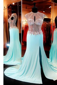 Unique Aqua Blue High-neck Backless Beading Prom Party Dress Sweep Train Cap Sleeves