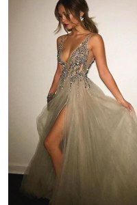 Luxurious Champagne V-neck Neckline Beading Prom Dresses Sleeveless Backless
