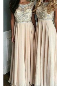 Spectacular Floor Length Champagne Prom Evening Gown Chiffon Cap Sleeves Beading