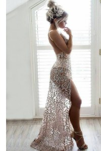 Clearance Champagne Column/Sheath Straps Sleeveless Lace Backless Sequins Prom Gown