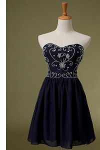 Knee Length Navy Blue Prom Party Dress Chiffon Sleeveless Embroidery
