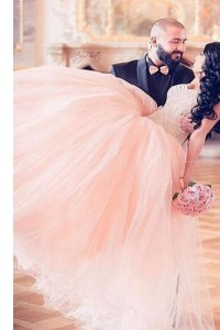 Glorious Chiffon Sweetheart Sleeveless Lace Up Beading Prom Dress in Pink