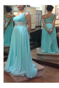 One Shoulder Sleeveless Side Zipper Floor Length Beading and Sashes ribbons Prom Dress