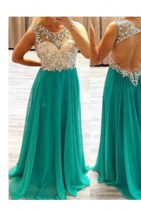 Adorable Green Prom Dresses Prom and Party and For with Beading Scoop Sleeveless Backless