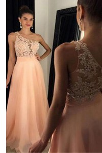 Most Popular One Shoulder Peach A-line Beading and Lace Prom Evening Gown Side Zipper Chiffon Sleeveless