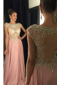 Scoop Sequins Floor Length A-line Sleeveless Pink Homecoming Dress Zipper