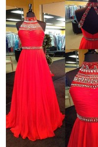Edgy Halter Top Red Sleeveless Floor Length Beading Backless Prom Gown